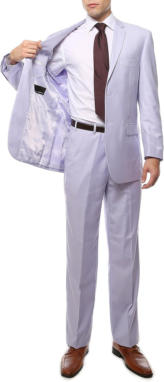 Ferrecci Men's Suit Slim Fit FE28001 Two Piece Suit for Men Classic Regular Fit 2 Button Jacket Dress Pant