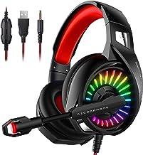 Gaming Kopfhörer Headset für PS4 PC Xbox One, LED RGB Licht Crystal Clarity Sound..