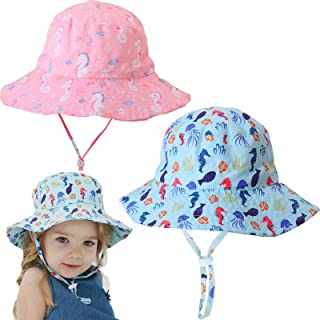 ABUDDER 2 Pieces Kids Play Hat UV Sun Protection Kids Cap Kids Sun Hat for 3~8 Years Girl Boy