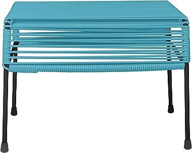 Innit Designs Adam Ottoman, Blue Weave on Black Frame