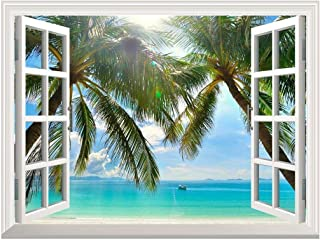wall26 Removable Wall Sticker/Wall Mural - Beautiful Sunny Beach on a Tropical Island with Palm Trees   Creative Window View Home Decor/Wall Decor - 24