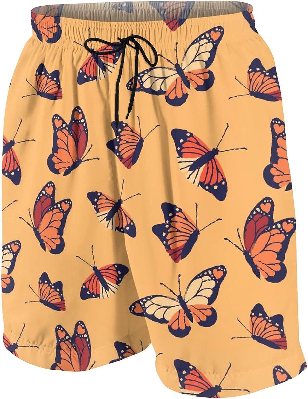 Boys Teens Swim Trunks Beautiful Monarch Butterfly Quick Dry Beach Board Swim Shorts 7-18T