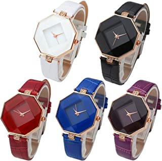 Fashion Womens Analog Quartz Wristwatches PU Leather Band Rose Gold/Gold Tone