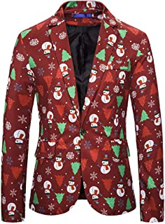 MIS1950s Men's Christmas Print Suit Jacket Casual Long Sleeve One Button Blazers Coat Top