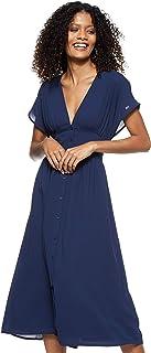 فستان تومي جينز للنساء مقاس متوسط الطول بتفاصيل خصر Tjw