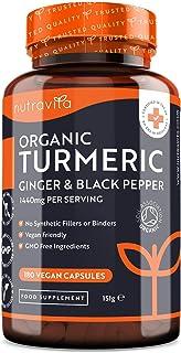 Cúrcuma Orgánica de 1440 mg con Pimienta Negra y Jengibre -180 Cápsulas Vegano de Alta Resistencia (Suministro para 3 Meses) - Fabricado en el Reino Unido por Nutravita