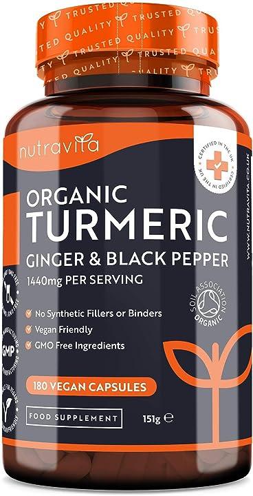 Curcuma bio 1440 mg con piperina e zenzero - 180 capsule di curcuma e piperina vegana - nutravita TurmericPepperGinger_AMZ_EN