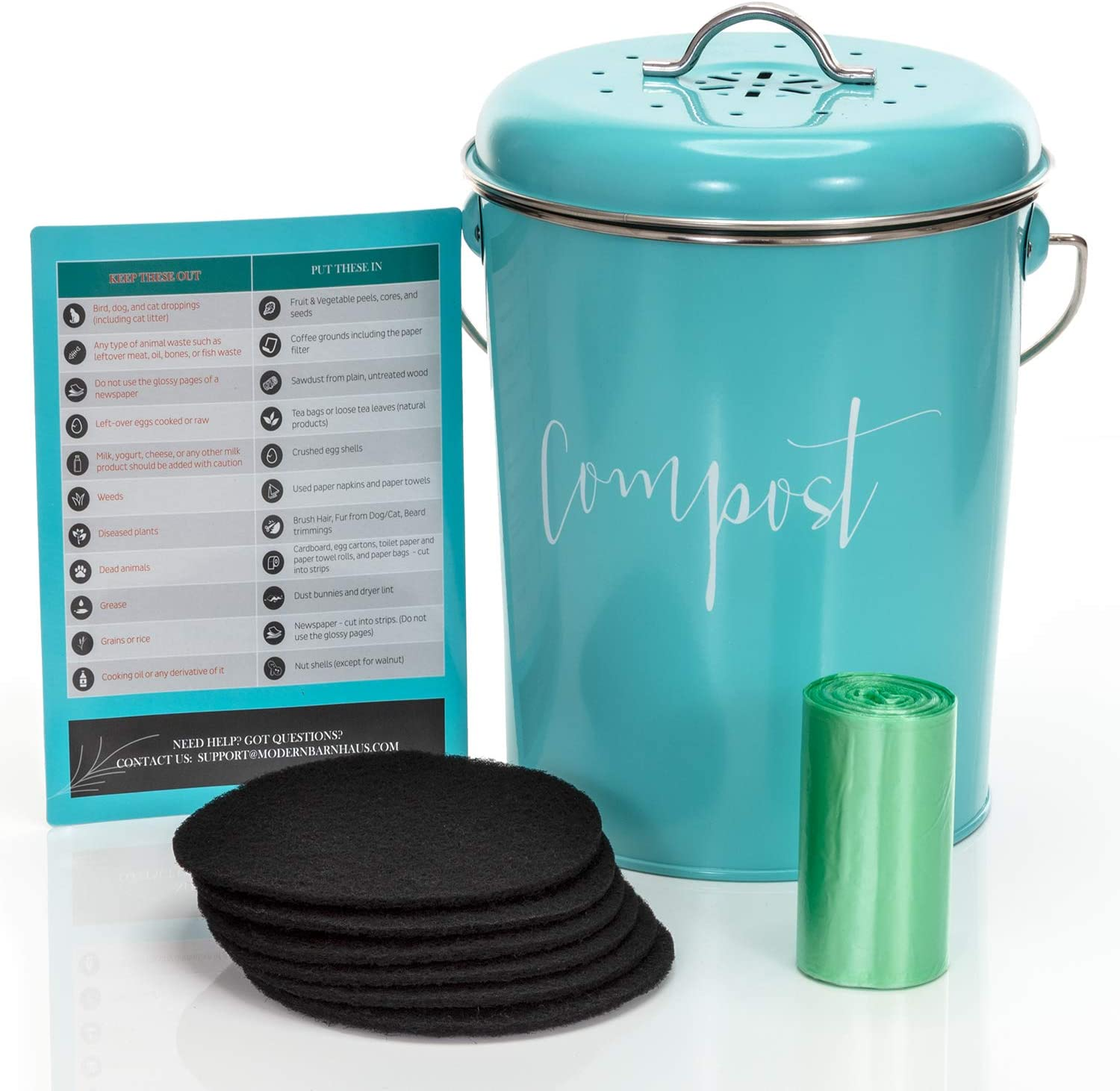 Buy Compost Bin For Kitchen Counter Stainless Steel Countertop Compost Container As 1 3 Gallon Indoor Compost Bucket Or Counter Composter Pail With Lid 50 Compost Bags And 6 Charcoal Filters Turquoise Online