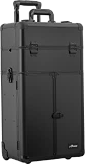SUNRISE Makeup Case on Wheels 2 in 1 Professional Organizer I3465, French Doors, 6 Trays and 4 Drawers, Locking with Mirror, Black Matte