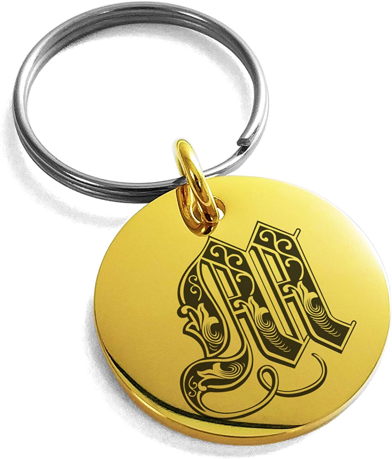 Tioneer Stainless Steel Letter M Initial Royal Monogram Small Medallion Circle Charm Keychain Keyring