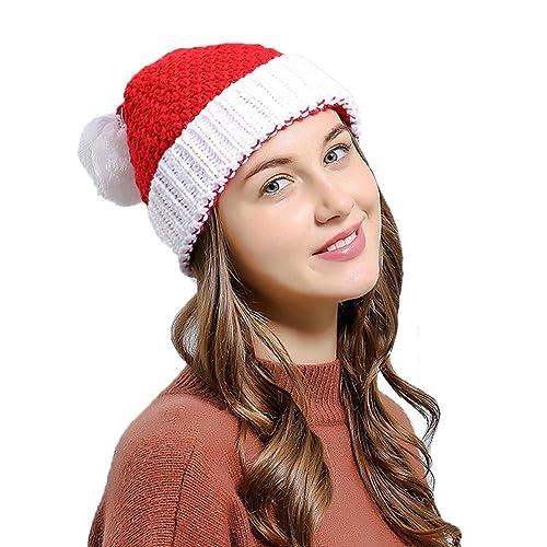 79b079a87ed Laviee Women Christmas Beanie Hat Winter Warm Knitted Crochet Santa Hat Gift