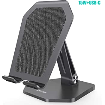 AOGUERBE 7.5W/10W/15W Wireless Charger, Aluminum 7.5W Fast Wireless Charging Stand (No AC Adapter) Compatible with iPhone 11/11 Pro Max/8, 15W LG V30/V35/G8,10W Galaxy S20/S10,Pixel 3/4XL(Space Gray)