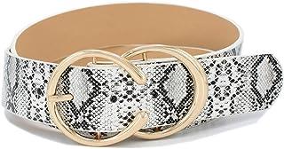 """Women`s Fashion 1 1/2"""" Mid Width Faux Leather Double Rings Buckle Belt"""