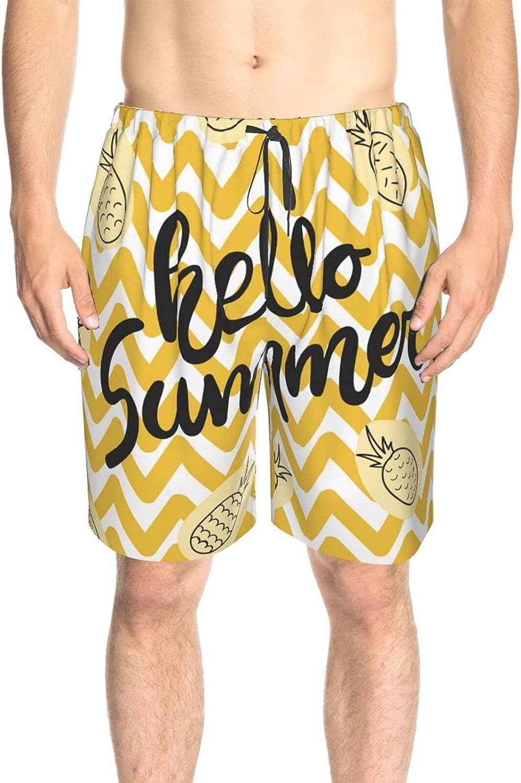 JINJUELS Mens Swim Trunks Hello Summer Pineapple Beachwear Board Shorts Fast Dry Fashion Swimwear Beach Shorts