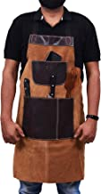 One Size Fits Utility Apron | Adjustable Cross-Back Straps | Multi-Use Shop Apron With Tool Pockets By Aaron Leather (Leather - Walnut)