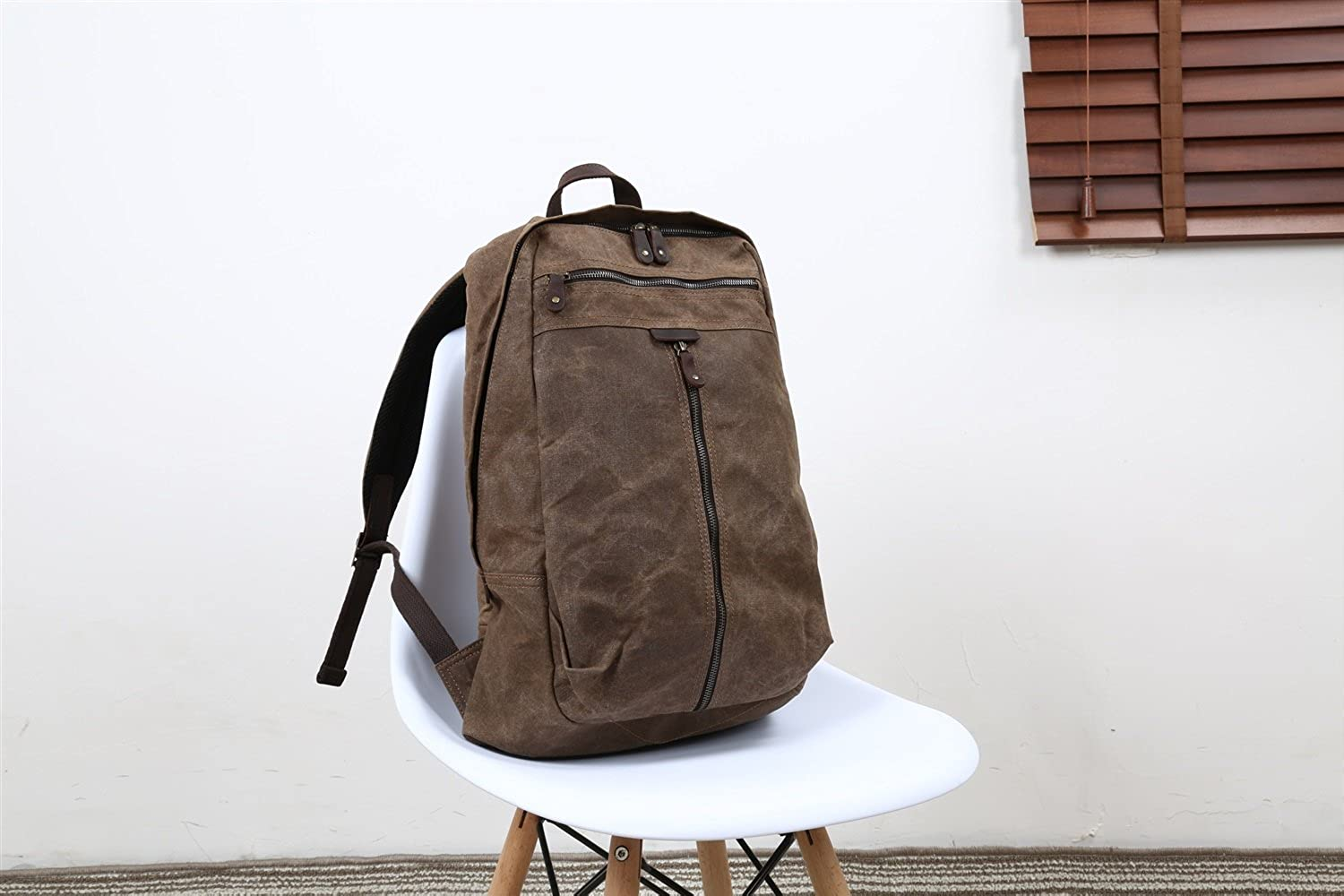 Men's Shoulder Bag Oil Wax Canvas Bag Retro Crazy Horse Skin Backpack Batik Canvas Waterproof Backpack (color   Brown, Size   M)