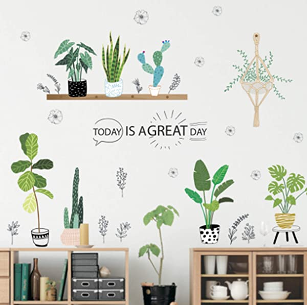 CHengQiSM Cactus Wall Decals Stickers Green Plant Aloe Banana Leaf Wall Decals Removable Wall Stickers For Kids Nursery Bedroom Living Room