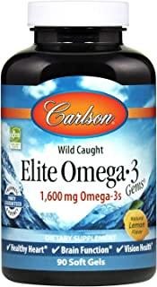 Carlson - Elite Omega-3 Gems, 1600 mg Omega-3 Fatty Acids Including EPA and DHA, Norwegian, Wild-Caught Fish Oil Supplemen...