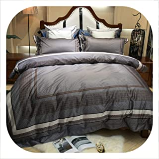 Memoirs- New Luxury Palace Bedding Set 100S Egyptian Cotton Duvet Cover Bed Set Pillowcase 4/6Pcs Queen King Size Bedsheet Linen Set,9,King Size 4pcs