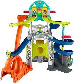 Fisher-Price Little People Lanzamiento y Loop Raceway, juego de vehículos para niños pequeños y preescolares