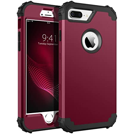 BENTOBEN Case for iPhone 8 Plus/iPhone 7 Plus, 3 Layer Hybrid Hard PC Soft Rubber Heavy Duty Rugged Bumper Shockproof Anti Slip Full-Body Protective Phone Cover for iPhone 8 Plus/7 Plus, Wine Red