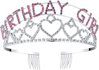 BABEYOND Crystal Rhinestone Tiara Headband Happy Birthday Girl Crown Comb Pin (Silver and Pink)