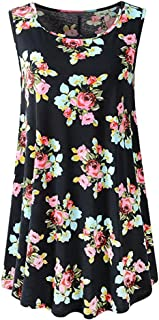 UOKNICE Blouses for Womens, Casual Sleeveless Swing Tunic Summer Floral Flare Tank Pullovers T-Shirts Tees Tops