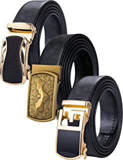 Barry.Wang Mens Belt Ratchet Black with 3 Automatic Buckles Alloy Genuine Leather Strap Gift Set for Men