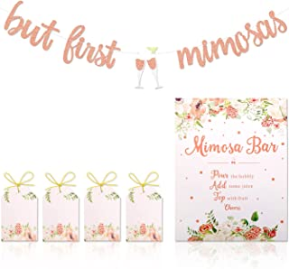 Mimosa Bar Sign But First Mimosas Banner Boho Floral Bridal Shower Decorations Rose Gold Baby Shower Graduation Decor Summ...