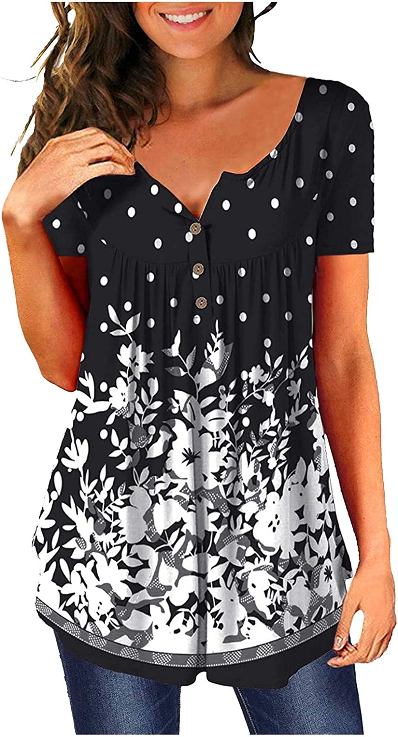 SKOLL Womens Buttons Blouses and Tops for Work Floral Flowy Hem Short Sleeve Crew Neck T Shirt 2021 Casual Tunic Tees
