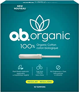 o.b. Organic Tampons with New Plant-Based Applicator*, 100% Organic Cotton, Regular, 18 Count