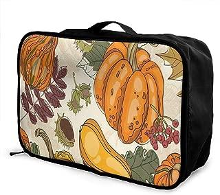 Travel Bags Autumn Fall Harvest Food Vegetables Pumpkins Portable Storage Trolley Handle Luggage Bag