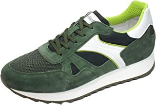 Nero Giardini E001503U Camo. Colorado Erba Sneakers Uomo in Pelle Bianca e camoscio Verde