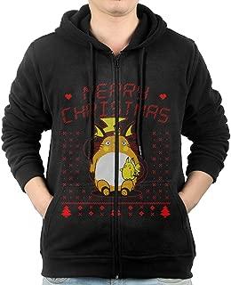 LetBiBi Hoodie Sweatshirt Men's Totoro Ugly Christmas Long Sleeve Zip-up Hooded Sweatshirt Jacket