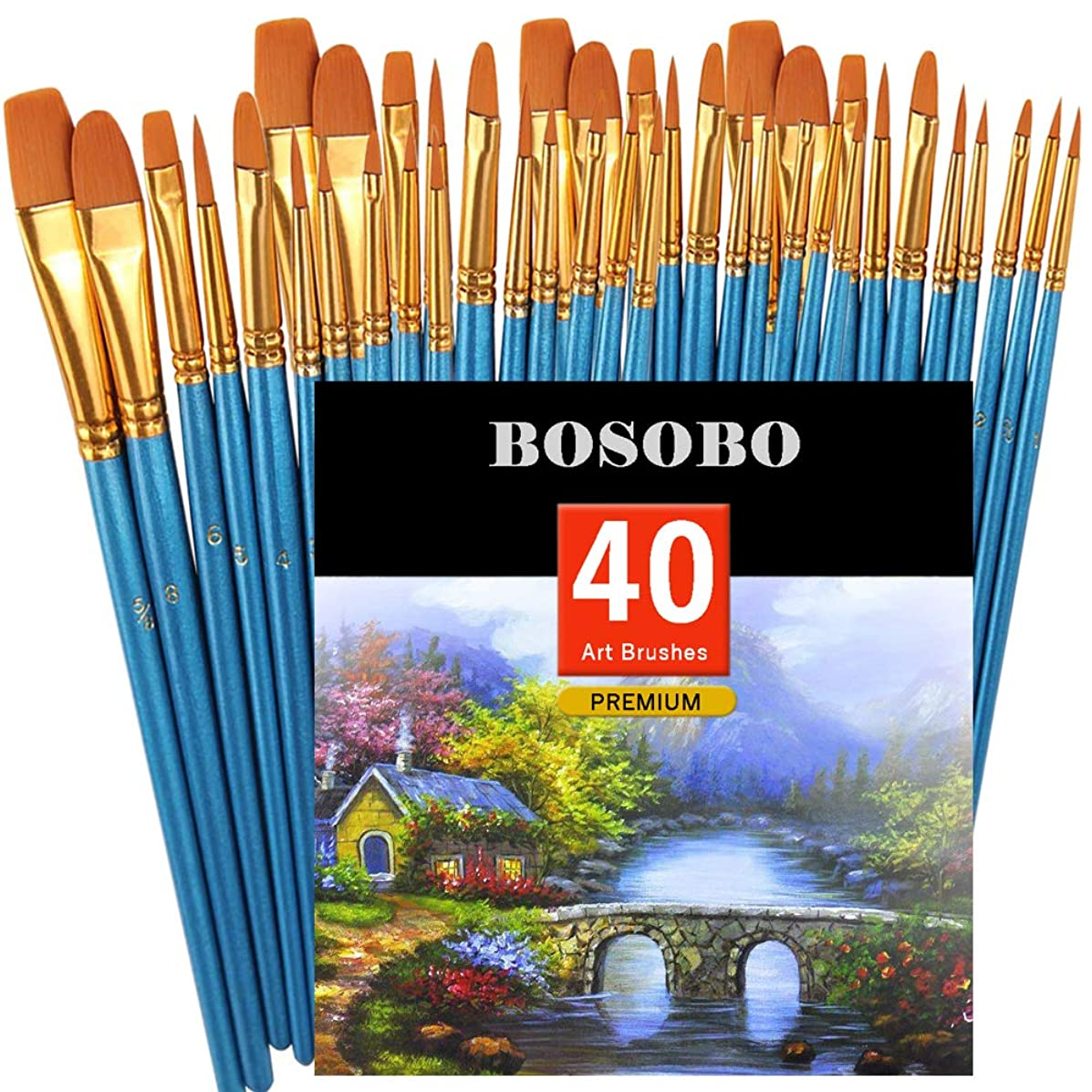 BOSOBO Pointed-Round Paint Brush, 4 Sets of 10 Pieces Fine Tip Nylon Hair Miniature Paint Brushes for Acrylic Oil Watercolor Gouache, Artist Face Nail Body, Paint by Numbers, Model Craft & Rock Art