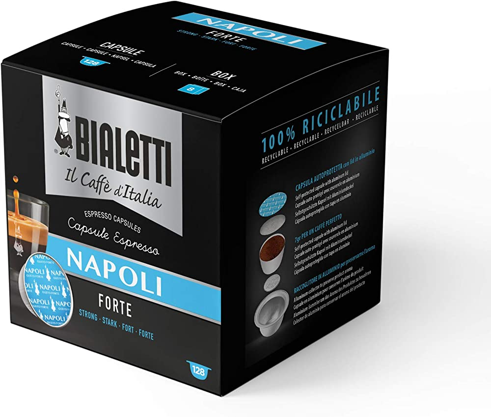Bialetti il caffè d`italia, miscela napoli gusto forte - multipack 128 capsule