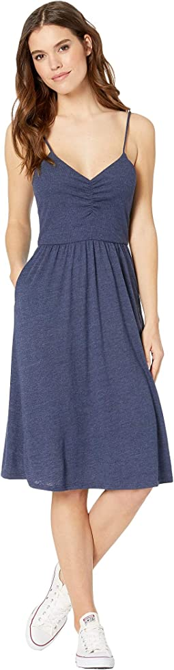 Tri-Blend Ruched Front Midi Dress