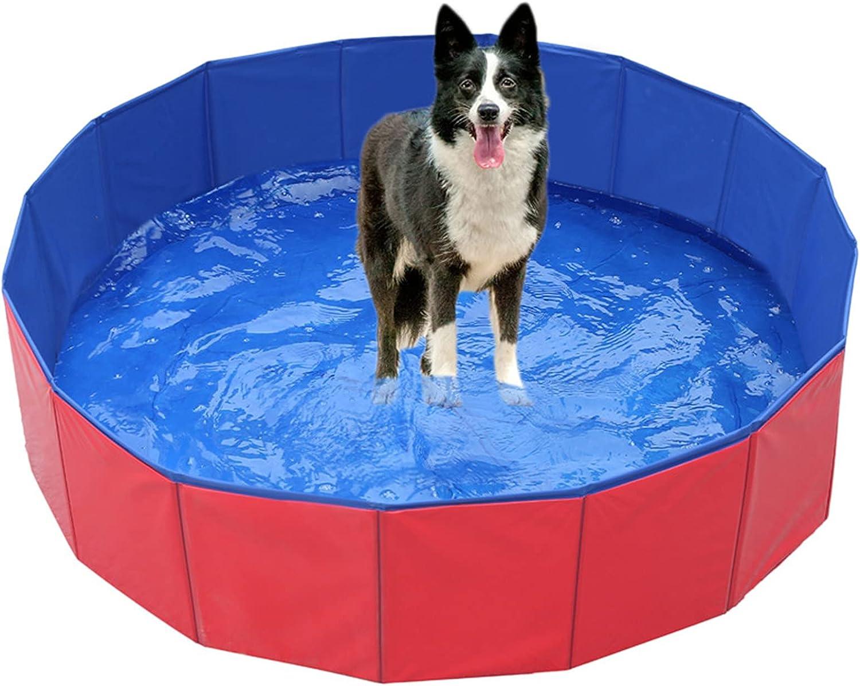 Piscina Para Perros Plegable De Piscina De Plástico Plegable Para Mascotas Al Aire Libre es Summer Adecuada Para Perros Pequeños Y Medianos Y Niños Para Jugar Al Aire Libre En Verano (100x30cm,rojo)