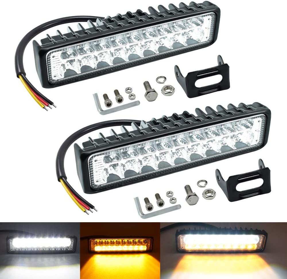 Dual Color LED Offroad Selling rankings Driving Lights 6Inch Max 52% OFF Spot Light 54W 2PCS