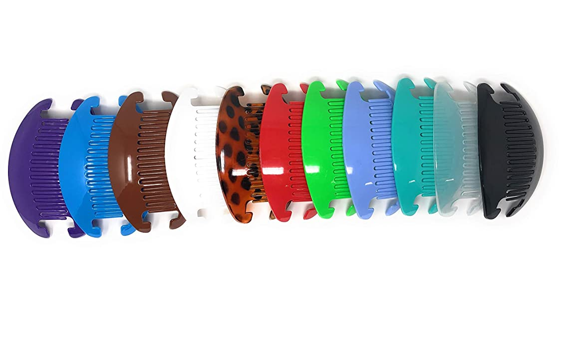 11 sets Jumbo Banana Comb Clip Thick Hair Riser Claw Interlocking Jaw Extra (Multi-colored).