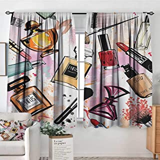 Decor Room Darkening Wide Curtains Girls,Cosmetic and Makeup Theme Pattern with Perfume Lipstick Nail Polish Brush Modern Lady, Multicolor,Insulating Room Darkening Blackout Drapes 42