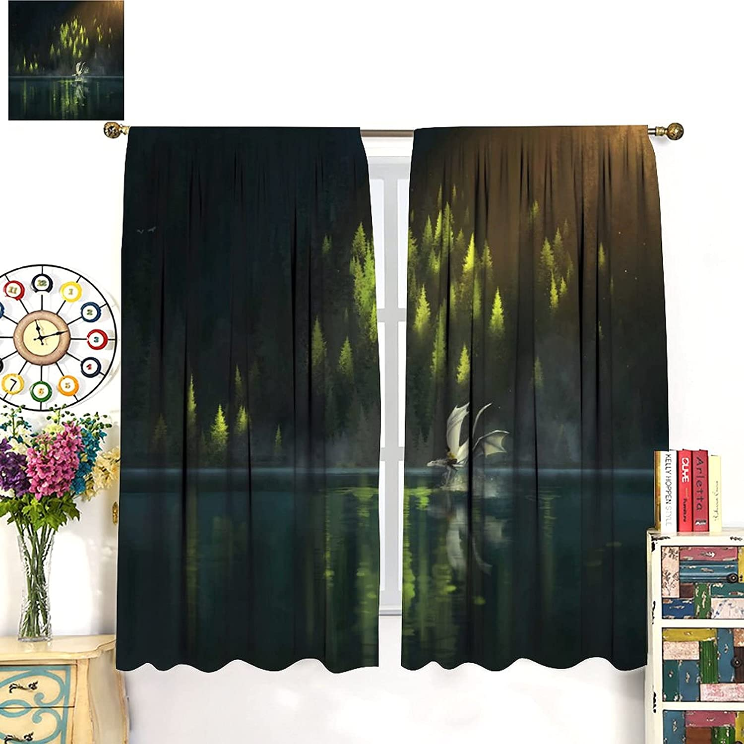 Dragon Blackout Curtains Fantasy Super sale period limited Art Genuine Free Shipping and His Sragon Friends Flyi