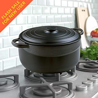 Cast Aluminium Dutch Oven with Dual Handles and Lid-5.3-Quart by S.KITCHN