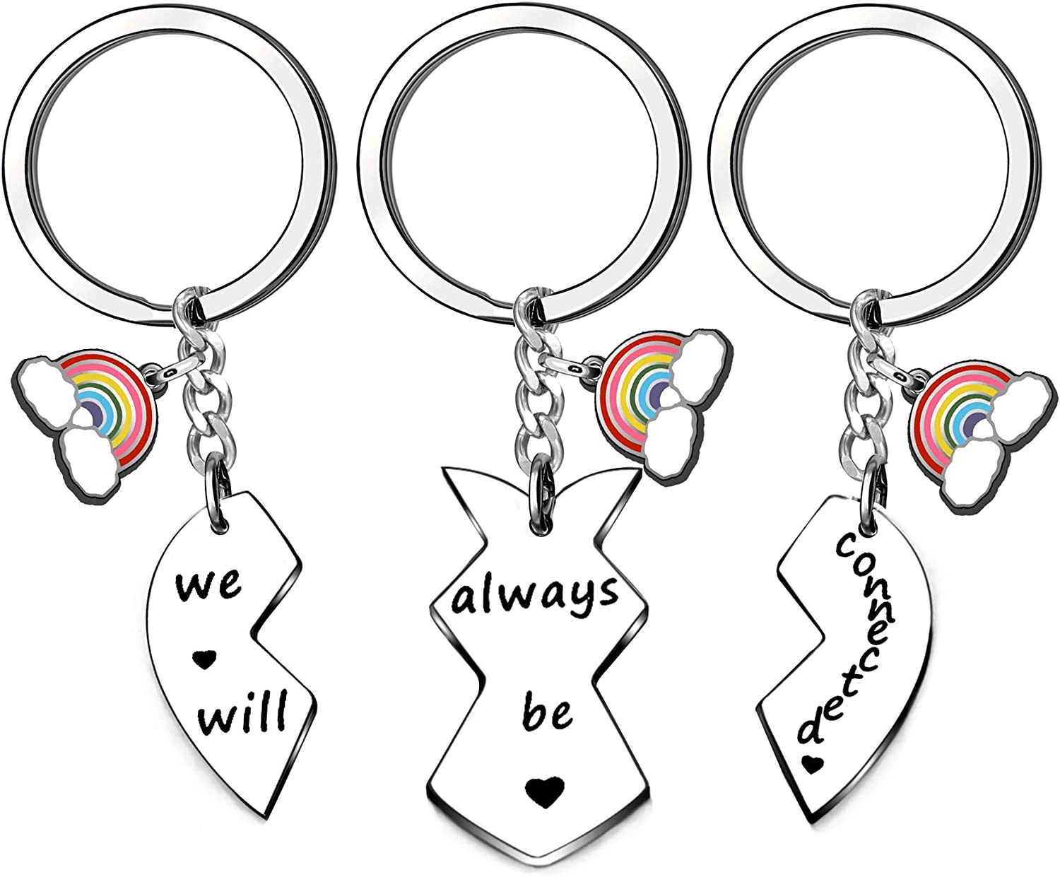 CAROMAY 3PC Friends Keychains Rainbow Key Chain Ring Family Together Forever Keyrings We Will Always Be Connected