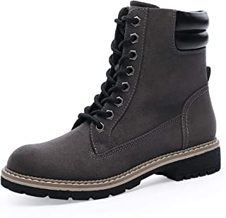 Women's Round Toe Lace Up Work Combat Boots Low Heel Hiking Fashion Ankle Bootie
