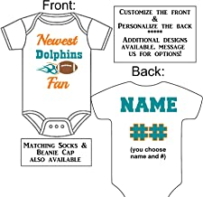 Personalized Custom Made Newest Dolphins Fan Football Gerber Onesie Jersey - Baby Announcement Reveal or Shower Gift