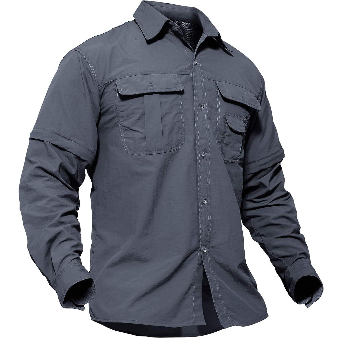 裸気候文明化TACVASEN アウトドア メンズ シャツ 長袖 ミリタリー タクティカル BDU tシャツ 登山 速乾 取り外し可能 半袖