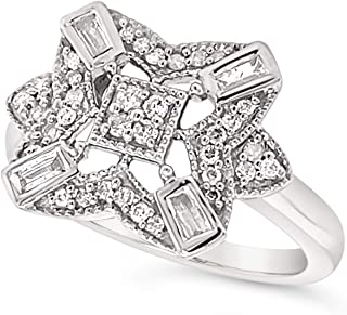 .925 Sterling Silver White Diamond Art Deco Cocktail Ring For Women 1/3 Carats