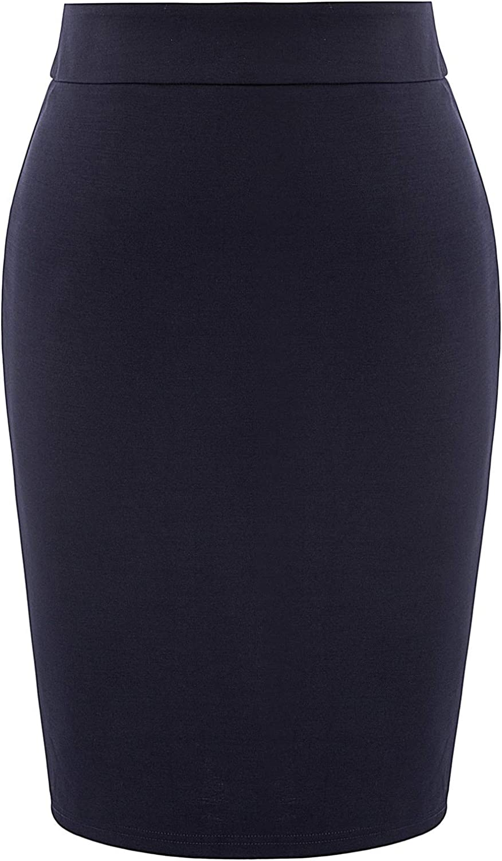 Hanna Nikole Women's Plus Size Stretch Back Slit Slim Fit Office Pencil Skirt
