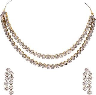 b56e44fea Ratnavali Jewels American Diamond CZ Gold Plated Designer Jewellery Set/Necklace  Set with Chain &